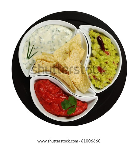 Mexican tacos with three different dips (guacamole, tomato-chili, cream cheese dip) on dark plate isolated on white