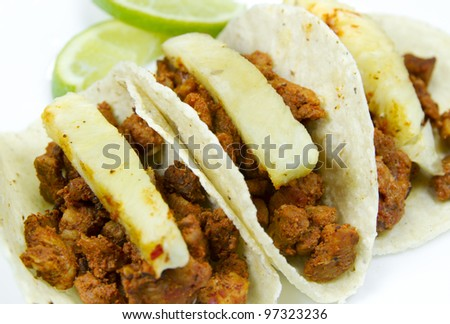 "Mexican Traditional ""Tacos Al Pastor"". Side View. - stock photo"