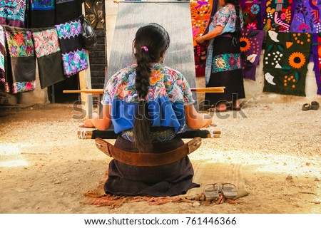 Mexican woman working loom in Chiapas Mexico #761446366