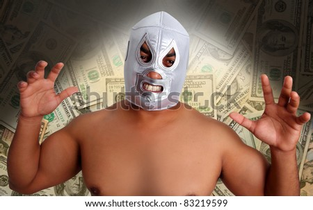 mexican wrestling mask silver fighter with agressive gesture in dollar notes [Photo Illustration]