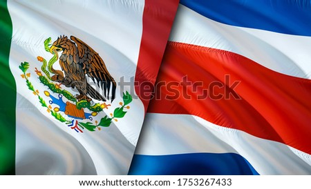 Mexico and Costa Rica flags. 3D Waving flag design. Mexico Costa Rica flag, picture, wallpaper. Mexico vs Costa Rica image,3D rendering. Mexico Costa Rica relations alliance and Trade,travel,tourism