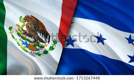 Mexico and Honduras flags. 3D Waving flag design. Mexico Honduras flag, picture, wallpaper. Mexico vs Honduras image,3D rendering. Mexico Honduras relations alliance and Trade,travel,tourism concept