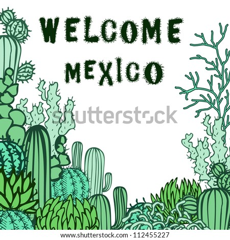 Mexico background. Collection of the doodles cactus.