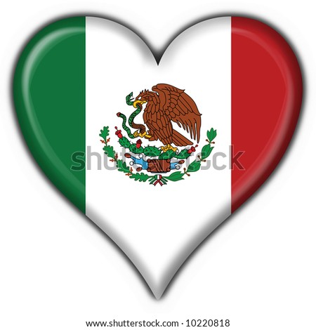 mexico button flag heart shape
