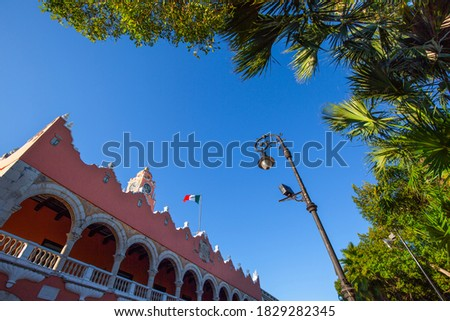 Mexico, Central Plaza Grande in Merida in front of Cathedral of Merida, oldest cathedral in Latin America