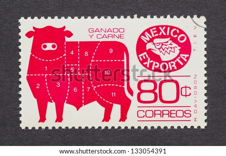 MEXICO - CIRCA 1980: a postage stamp printed in Mexico showing an image of bull with the primal cuts of mexican beef, circa 1980.