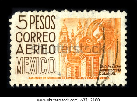 MEXICO - CIRCA 1980: A stamp printed in Mexico shows image of the dedicated to the Colonial Architecture of Mexico circa 1980.