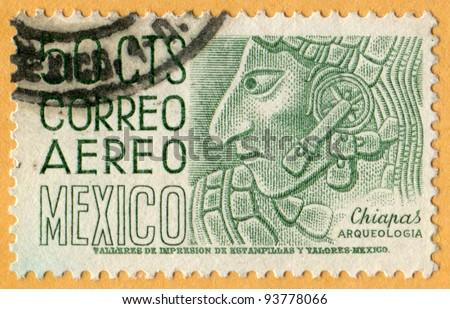 MEXICO - CIRCA 1960: A stamp printed in Mexico shows Mayan relief from Chiapas by Eppens (Correo Aereo Mexico. Chiapas. Architecture and Archaeology series.), circa 1960