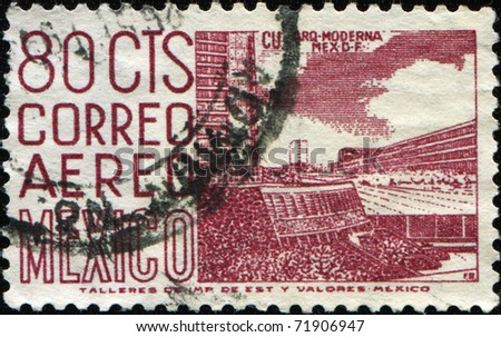 MEXICO - CIRCA 1958: A stamp printed in Mexico shows modern architecture of Mexico City, circa 1958