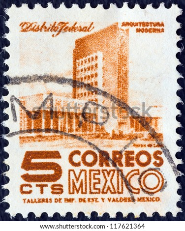 MEXICO - CIRCA 1950: A stamp printed in Mexico shows modern building, Mexico City, circa 1950.
