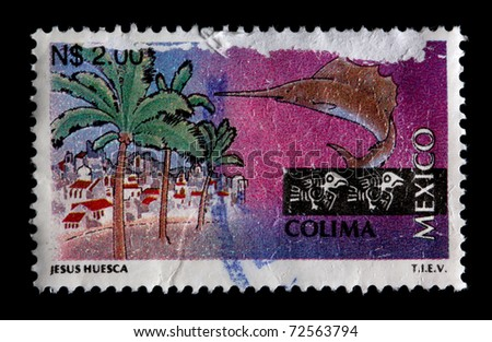 MEXICO - CIRCA 1997: A $2 stamp printed in Mexico shows palm trees, buildings and a sailfish associated with the state and city of Colima, Mexico, circa 1997 - stock photo