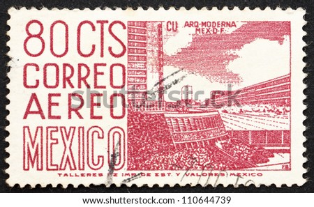 MEXICO - CIRCA 1952: a stamp printed in the Mexico shows Mexico City University Stadium, circa 1952