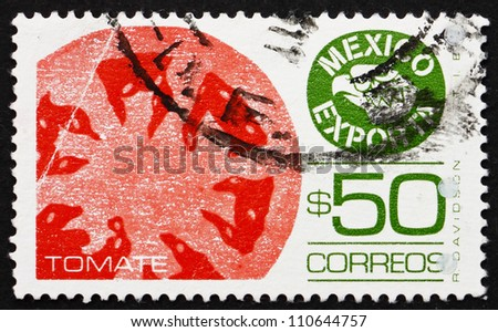 MEXICO - CIRCA 1987: a stamp printed in the Mexico shows Tomatoes, Mexican Export, circa 1987