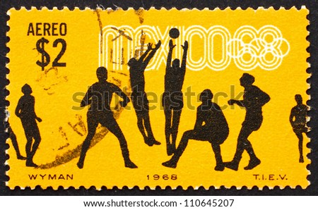 MEXICO - CIRCA 1968: a stamp printed in the Mexico shows Volleyball, 19th Olympic Games, Mexico City 68, circa 1968