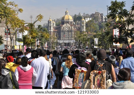 MEXICO CITY - DEC 12: A flood of faithful Catholics pour into the Plaza Mariana on the annual pilgrimage to visit the basilica of Our Lady of Guadalupe on December 12, 2012 in Mexico City