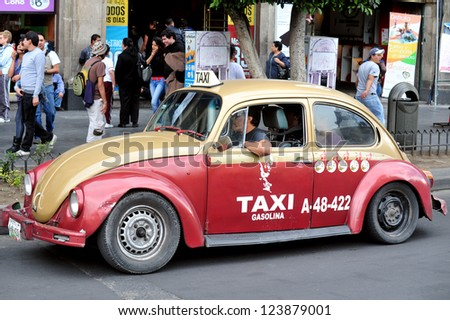 MEXICO CITY - FEB 23:Classic Mexican Volkswagen  taxi on February 23 2010 in Mexico City, Mexico.The iconic beetle taxis taken off the streets by the Mexican transport department since March 2012