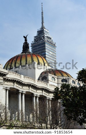 MEXICO CITY - 28 FEB 2010:Torre Latino Americana and The Fine Arts Palace buildings in Mexico City, Mexico.Latin-American Tower withstood the 1985 Mexico City earthquake without damage.
