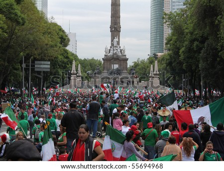 MEXICO CITY - JUNE 17 : Celebration of triumph of Mexican national football team against France at Reforma Avenue on June 17, 2010 in Mexico City.
