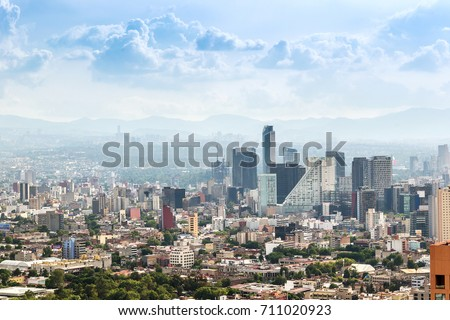 MEXICO CITY, MEXICO - CIRCA MAY 2013: Panoramic view of downtown buildings, Torre Mayor building, Corporativo Angel builiding and St Regis hotel