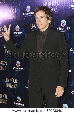 """MEXICO CITY, MEXICO-JUNE 9 :  Actor Ben Stiller attends the """"Night at the Museum 2: Battle of the Smithsonian"""" Mexico City Red Carpet Premier at Cinemex Antara at Mexico,City.,Mexico. June 9 2009."""