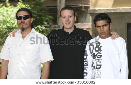 MEXICO CITY, MEXICO- JUNE 30: (L to R) Jesus Moises Rodriguez, Amat Escalante & Ruben Sosa attends The Bastards Movie Press Conference at Mexico, City., Mexico. June 30 2009