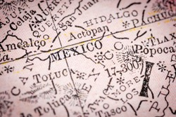 Mexico City, Mexico - Narrow selective focus from map fragment originally dated 1911.