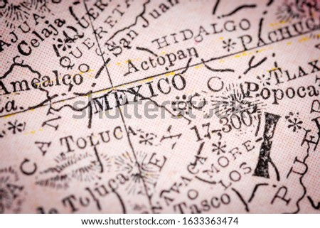 Mexico City, Mexico - Narrow selective focus from map fragment originally dated 1911. Foto stock ©