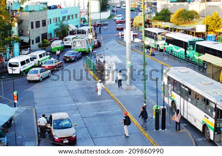 MEXICO CITY, MEXICO - NOVEMBER 16, 2013: Bus terminal near Benito Juarez International Airport in Mexico City.