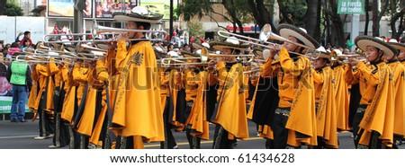 MEXICO CITY - SEPTEMBER 15: Bicentenario parade on avenue Reforma. September 15, 2010. Mexico city