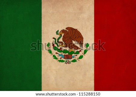 Mexico flag drawing ,grunge and retro flag series