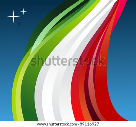 Mexico flag illustration fluttering on blue background.