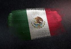 Mexico Flag Made of Metallic Brush Paint on Grunge Dark Wall
