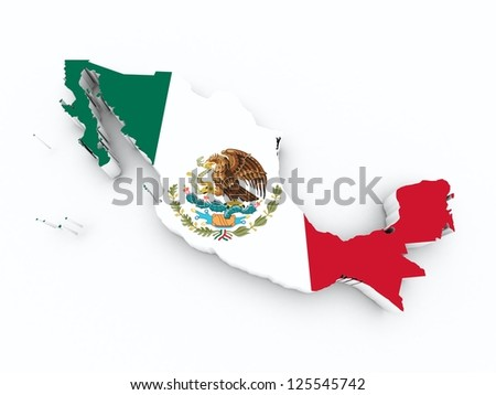 mexico flag on 3d map