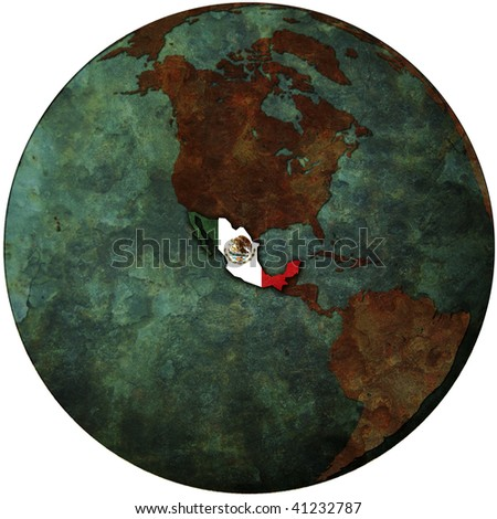 mexico flag on map of earth globe