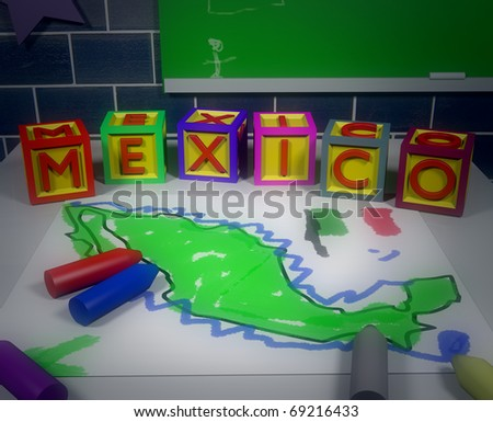 Mexico illustration/Digitally rendered scene