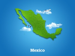 Mexico Map. Green grass, sky and cloudy concept.