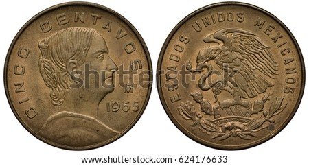 Shutterstock Mexico Mexican coin 5 five centavo 1959, bust of insurgent Josefa Dominguez right, eagle on cactus catching snake,