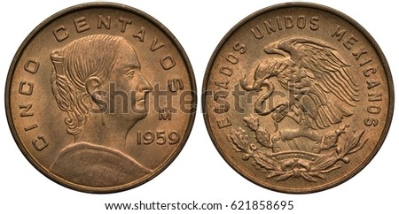 Shutterstock Mexico Mexican coin 5 five centavo 1959, bust of Josefa Dominguez right, eagle on cactus catching snake,