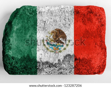 Mexico. Mexican flag painted on brick