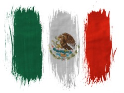 Mexico. Mexican flag painted with 3 vertical  brush strokes on white background