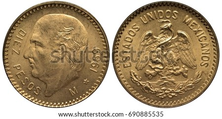Shutterstock Mexico Mexican golden coin 10 ten peso 1959, head of Miguel Hidalgo y Costilla left, eagle on cactus catching snake,