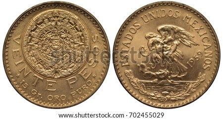 Shutterstock Mexico Mexican golden coin 20 twenty pesos 1959, Aztec stone calendar, carving, value and purity info below, eagle on cactus catching snake, sprigs with ribbon below,