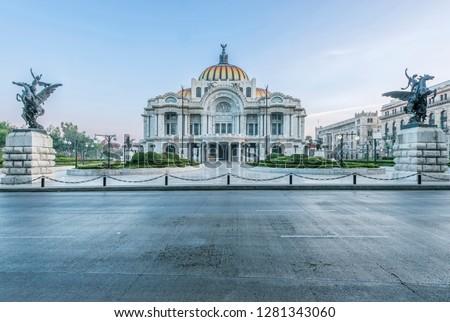 Mexico, Mexico City, Palacio de Bella Artes (Palace of Fine Arts) at Dawn