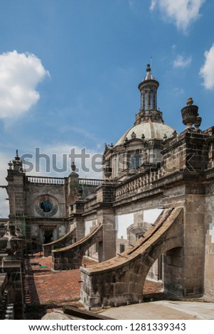 Mexico, Mexico City, Zocalo. The buttresses help support the superstructure of the Metropolitan Cathedral. #1281339343
