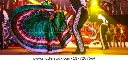 Mexico national costume. Hispanic Dancers show