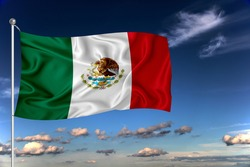 Mexico national flag waving in the wind against deep blue sky.  International relations concept.