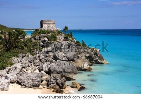 "Mexico Quintana Roo Tulum Mayan Ruins - Costa Maya or ""Mayan Riviera"" Yucatan peninsula"