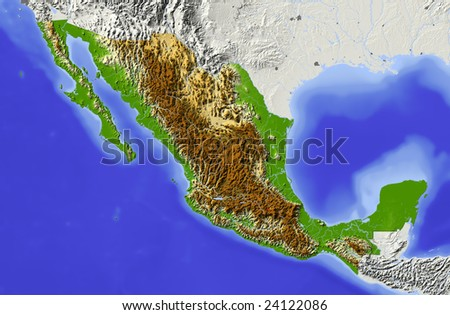 Mexico. Shaded relief map. Surrounding territory greyed out. Colored according to elevation. Includes clip path for the state area. Data source: NASA
