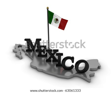 Mexico Tribute/Digitally rendered scene with flag and typography
