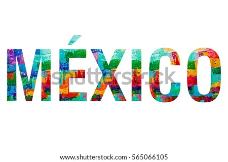 MEXICO WORD with traditional mexican paper bunting decoration celebratory flags in the background clipping mask